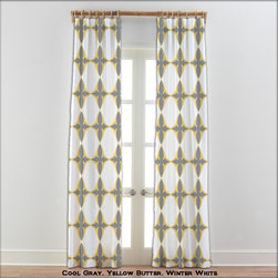 """54 Colors ~ Moroccan Yellow Gray White Curtains - Moroccan Yellow Gray White Curtains. Sold in pairs, printed on soft plush 100% microsuede. Each unlined panel has a rod pocket approximately 2 inches wide or you may also hang using drapery clips. Blocks approximately 50% of light. Fabric is printed with eco friendly water based dye using the dye sublimation technique. This process turns dye into a gas that penetrates fabric fibers leaving no """"feel"""" on fabric. No bleeding, no fading, no smudging, and no cracking or peeling. Machine wash and dry. DO NOT DRY CLEAN."""