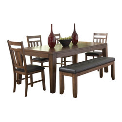 Homelegance - Homelegance Kirtland Butterfly Leaf Dining Table in Oak - For your casual dining space, the Kirtland collection provides ample seating for your family and friends. Bench seating features button tufted dark brown bi-cast vinyl. The horizontal and vertical slat supports form each chair back.