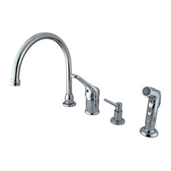 "Kingston Brass - Single Loop Handle Kitchen Faucet with Soap Dispenser and Side Sprayer - This single handle kitchen faucet includes a 8"" to 16"" widespread setup with a 360-degree gooseneck spout. The handle acts as a joystick-type control mechanism for easy management of water volume and temperature; also includes a 2.2 GPM (8.3 LPM) 60 PSI max rate. Fabricated in solid brass for durability and reliance, we also provide an assortment of different finishes for stain, scratch and chipping resistance. A 10-year limited warranty is provided to the original customer. Soap dispenser and side sprayer included.; Goose Neck Swivel Spout; Stainless Steel Ball Cartridge; 4 Hole Installation with 6"" spout clearance; Includes Soap dispenser; Matching Finish Plastic Sprayer Included; Material: Brass; Finish: Polished Chrome Finish; Collection: Wyndham"