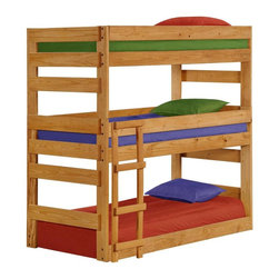 Chelsea Home - Twin Triple Bunk Bed - NOTE: ivgStores DOES NOT offer assembly on loft beds or bunk beds.. Includes slat packs. Mattresses not included. Rustic style. Wooden ladder. Metal brackets are used to connect the rails to the headboard and footboard. Rails include a 1.25 in. cleat which is glued and screwed to the rail for extra strength to support the mattress foundation. Exceed all safety standards of the consumer product safety commission. Constructed for strength and durability. Can hold up to 400 lbs. of distributed weight. Warranty: One year. Made from solid pine wood. Ginger stain finish. Made in USA. Assembly required. Distance between top and bottom bunk: 27 in. and 18 in.. 80 in. L x 41 in. W x 77 in. H (230 lbs.). Bunk Bed Warning. Please read before purchase.Warning: Falling hazard, bunk beds should be used by children 6 years of age and older!