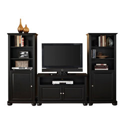 """Crosley - Alexandria 42"""" TV Stand and Two 60"""" Audio Piers in Black Finish - Our 42"""" TV stand and audio pier combination offers a unique solution for both display and storage. Extremely versatile, this combo features adjustable shelves allowing you to effortlessly organize by design. Two audio piers save space yet provide abundant storage options, while the TV stand offers a cord management system that tames the unsightly mess of tangled wires."""