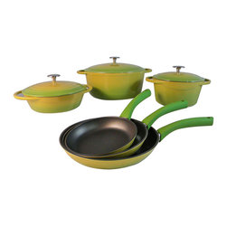 Le Chef Cookware - Le Chef 9 Piece Enamel Cast Iron Cookware Set, Palm. - Le Chef 9 Piece Cookware Palm Set is colorful and stylish cookware set elegantly present the warmth and care that goes into preparing a meal. The 7 Piece Cookware Palm Set is evenly conduct and retain heat while withstanding the rigors of daily use. Porcelain enamel interior finish requires no seasoning and resists scratches and chips. Goes easily from oven to table for beautiful presentation. The flat bottoms are enameled as the Palm exterior. Fry Pans riveted hollow stainless steel handle stays cool. Safe on all cook tops and in the oven to 475 degrees F. Durable finish requires no seasoning and is easy to clean Great performance and heat retention. Enamel cast iron construction for great cooking and a century of use.