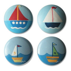 Assorted Sailboat Drawer Knobs - These nice primary colors will work in most boys' rooms.