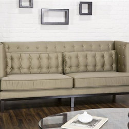 Armen Living - Noho Sofa with Tufted Back - Contemporary style. Satin champagne fabric. 85 in. W x 34 in. D x 37.5 in. H (132 lbs.)Chick, swanky and shimmering with high-backed symmetry and decadent indulgence. Sleek styling adds exquisite entertainment lounge swank-or conveys an elegant stand-alone statement.