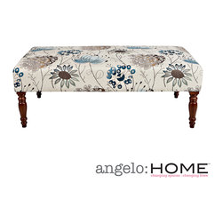 ANGELOHOME - angelo:HOME Brighton Hill Spring Parisian Blue Flower Cocktail Ottoman - The angelo:HOME Brighton Hill bench was designed by Angelo Surmelis. The upholstered Brighton Hill bench is covered in spring Parisian blue flower fabric.
