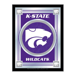 "Holland Bar Stool - Holland Bar Stool Kansas State Logo Mirror - Kansas State Logo Mirror belongs to College Collection by Holland Bar Stool The perfect way to show your school pride, our logo mirror displays your school's symbols with a style that fits any setting.  With it's simple but elegant design, colors burst through the 1/8"" thick glass and are highlighted by the mirrored accents.  Framed with a black, 1 1/4 wrapped wood frame with saw tooth hangers, this 17""(W) x 22""(H) mirror is ideal for your office, garage, or any room of the house.  Whether purchasing as a gift for a recent grad, sports superfan, or for yourself, you can take satisfaction knowing you're buying a mirror that is proudly Made in the USA by Holland Bar Stool Company, Holland, MI.   Mirror (1)"