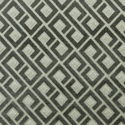 Plush Geometric 3 Upholstery Fabric, Gray - This plush geometric features a diamond motif in charcoal gray and is suitable for upholstery, cornice/headboards, and other decorative uses.