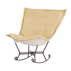 Microsuede Scroll Puff Rocker - Mahogany Frame