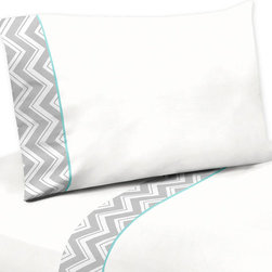 Sweet Jojo Designs - Gray Turquoise ZigZag Chevron Queen Sheet Set - Gray and Turquoise Zig Zag 4 Piece Queen Sheet Set will help complete the look of your Sweet Jojo Designs room. This white 100% cotton fabric with gray zig zag trim and turquoise piping sheet set fits all standard queen size mattresses and is machine washable for easy care. Queen Sheet Set Includes: Fitted Sheet, Flat Sheet and 2 Pillow Cases. Fitted Sheet: 80 in. x 60 in. x 15 in., Flat Sheet: 102 in. x 90 in., 2 Pillow Cases 20 in. x 30 in.