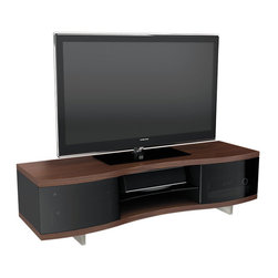 BDI - Ola TV Stand 8137 - The gradual wave that the edge of cabinet makes softens the sturdy structure of the Ola TV Stand 8137. it holds up to 150 lbs and has hidden wheels, cable management, and adjustable shelves. Pick between 2 color options.