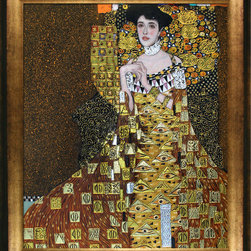 "overstockArt.com - Klimt - Portrait of Adele Bloch Bauer I (Luxury Line) Oil Painting - 20"" x 24"" Oil Painting On Canvas This painting is part of our ""Luxury Line"". It is made of the same hand painted oils on canvas, with the addition of beautifully hand embellished gold and silver accents. Exclusive only to our highest quality reproductions. The original oil painting was purchased for $135 million. The highest priced painting in history! Hand painted oil reproduction of a famous Klimt painting, Portrait of Adele Bloch-Bauer I. The original masterpiece was created in 1907. Today it has been carefully recreated detail-by-detail, color-by-color to near perfection. Gustav Klimt (1862-1918) was one of the most innovative and controversial artists of the early twentieth century. Influenced by European avant-garde movements represented in the annual Secession exhibitions, Klimt's mature style combines richly decorative surface patterning with complex symbolism and allegory, often with overtly erotic content. This work of art has the same emotions and beauty as the original. Why not grace your home with this reproduced masterpiece? It is sure to bring many admirers!"