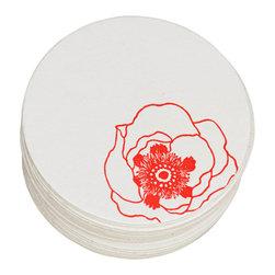 Ruff House Art - Poppy Flower Letterpress Paper Coasters, Set of 10 - **Boxed Set of 10 Letterpress Paper Coasters
