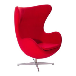 Modern Red fabric lounge Chair inspired by Arne Jacobsen Egg chair design - Modern red fabric lounge Chair features a great design inspired by original Arne Jacobsen Egg chair. It possesses a unique shape, which affords privacy in otherwise public spaces. The lounge chair is mounted on a polished metal swivel base. The shell is made of polyurethane foam with glass fibre reinforcement. The chair has an adjustable tilt fitting which can be adjusted to the weight of the individual user.