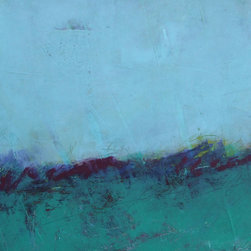 Wild Wave  - Original Mixed Media Painting on Paper - An abstract, minimalist landscape of a wild shoreline. This is a wonderful mixed media piece that explores color, texture and depth.