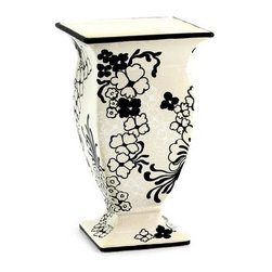 Artistica - Hand Made in Italy - Nerone: Square Footed Vase - Nerone: The Nerone collection is part of our new ''Artistica Contempo'' division where we feature exclusive and trendy designs while maintaining our traditional handcrafting and hand painted feature.