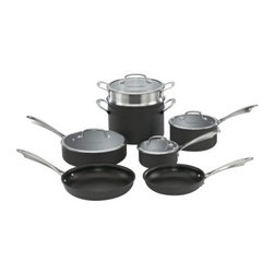 Cuisinart DSA-11 Dishwasher Safe Hard Anodized 11 Piece Cookware Set - About CuisinartOne of the most recognized names in cookware and kitchen products Cuisinart first became popular when introduced to the public by culinary experts Julia Child and James Beard. In 1973 the Cuisinart food processor revolutionized the way we create fine food and healthy dishes and since that time Cuisinart has continued its path of innovation. Under management by the Conair Corporation since 1989 Cuisinart is a universally celebrated name in kitchens across the globe. With a full-service product line including bakeware blenders coffeemakers cookware countertop appliances kitchen tools and much much more Cuisinart products are preferred by chefs and loved by consumers for durability ease of use superior quality and style.