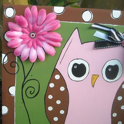 Owl Art, Bird Art, Flower, Girl's Room By What Is A Grit - This is handmade, hand-painted, 3-D — the best of everything.