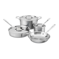 All-Clad - All-Clad d5 Brushed Stainless Steel 7 Piece Cookware Set (BD005707-R) - The All-Clad d5 Brushed Stainless 7 piece cookware set has a great mix of a fry pan, a sauce pan, a saute pan, and a stock pot. These All-Clad d5 pans have the new great-looking brushed stainless finish on their exteriors, so they have a very attractive look. Also, each pan maintains heat evenly across the cooking surface thanks to All-Clad's d5 5-layer construction of steel and aluminum. Made in the USA, this All-Clad d5 brushed stainless set will last you a lifetime and is backed up by All-Clad's lifetime warranty with normal use and care.