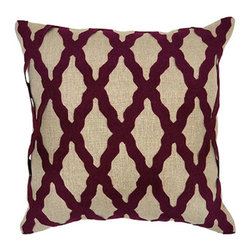Villa Home - Intrigue Burgandy Pillow - Extraordinary lush pillows made from all natural fabric.  Each pillow has a woven diamond pattern in burgundy over natural linen.  Wine country inspired these charming pillows are constructed from 100% linen fabric.  Zipper closure and feather down insert included with every pillow.
