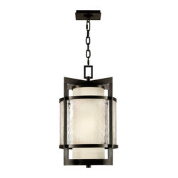 Fine Art Lamps - Singapore Moderne Outdoor Outdoor Lantern, 817482ST - Enjoy your personal outdoor space even more by filling it with light. This lantern, which has a slight Asian influence, features milky interior glass surrounded by clear, textured glass and is framed by a dark bronze patina finish.