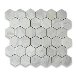 "Stone Center Corp - Carrara Marble Hexagon Mosaic Tile 2 inch Honed - Carrara white marble 2"" (from point to point) hexagon pieces mounted on a sturdy mesh tile sheet"