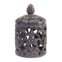 Imax - CKI Blue Cutwork Antique Round Storage Box with Lid Ceramic Decor - Cki blue cutwork antique round storage box with lid ceramic living, dining and family room home accent decor