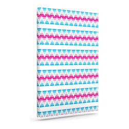 """Kess InHouse - Apple Kaur Designs """"Swimming Pool Tiles"""" Blue Pink Wrapped Art Canvas (30"""" x 24"""" - Bring your outdoor patio to life with this artistic outdoor canvas wrap featuring gorgeous artwork by KESS InHouse. These canvases are not only easy to hang and remove but also are the perfect addition to your patio collection. These canvases are stretched around a wooden frame and are built to withstand the elements and still look artistically fabulous. Decorating your patio and walls with these prints will add the splash of art and color that is needed to bring your patio collection together! With so many size options and artwork to choose from, there is no way to go wrong with these KESS Canvas Wraps!"""