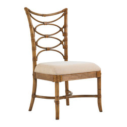 Lexington - Lexington Beach House Sanibel Side Chair Set of 2 540-880-01 - Graceful interlocking ring pattern in leather-wrapped bent rattan will entice your dinner guests to linger. Standard upholstered seat is Seascape, a sand and ivory colored woven with a slight texture.