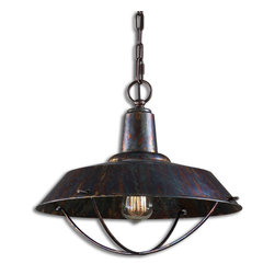 Uttermost - Arcada 1-Light Bronze Pendant - Rustic reimagined. With its oxidized patina, this pendant brings a touch of farmhouse style into your home. It's fitted with an exposed filament bulb to add to its authenticity.