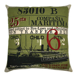 "KOKO - Ticket Pillow, Maritima, Sage, 20"" x 20"" - Are you wondering where this ship is headed? And in what time did it ever just cost 25 cents to travel anywhere? It's fun to think about those bygone ages, and this pillow would bring a bit of that storied history to your den or office."