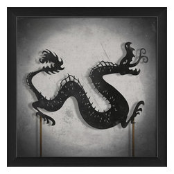 The Artwork Factory - Shadow Puppet Dragon Framed Artwork - Ready-to-Hang, 100% Made in the USA, museum quality framed artwork