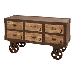 Benzara - Metal Wood Cabinet Cart 48in.W, 29in.H - Size: 48 in. x18 in. x29 in.  Made with beach wood and metal alloy