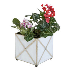 Worlds Away White glass crosshatch planter - White glass crosshatch planter with silver metal edging.