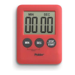 "Polder Mini Digital Kitchen Timer Red - The Polder Mini Digital Kitchen Timer is small and compact allowing you to use it in multiple places. Has a 100 minute capacity and 60 second alarm. The built in memory function instantly recalls the last setting  and the high strength magnet on the back makes it suitable for vertical mounting.  Batteries included.Product Features                                  Large  one-"" LCD display            Countdown / Count-Up features 100-minute capacity with 60-second alarm            Memory function instantly recalls last setting            High-strength magnet on back for vertical mounting            Includes one LR1130 battery"