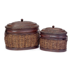 """IMAX CORPORATION - Rattan/Metal Lidded Boxes - Set of 2 - Set of two, oval, nesting, metal and rattan lidded boxes. Comes in various sizes measuring around 16.5""""L x 9""""W x 12.25""""H each. Shop home furnishings, decor, and accessories from Posh Urban Furnishings. Beautiful, stylish furniture and decor that will brighten your home instantly. Shop modern, traditional, vintage, and world designs."""