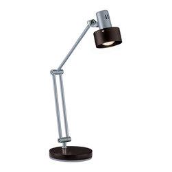 Lite Source - Lite Source LS-21091 Duccio 1 Light Desk Lamps in Silver - Desk Lamp, Silver, Dark Walnut Shade, E17 Type R 40W