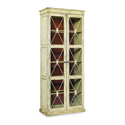 Hooker Furniture - Two-Door Thin Display Cabinet, Dune - Whether they're books or bobbins or bobblehead dolls, your collections will shine in this tall, lighted display cabinet. With its high quality construction and elegant, diamond-mullioned glass doors, it even adapts to fit your treasures with a choice of exterior finishes, a reversible back panel and adjustable shelves.