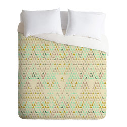 DENY Designs - Pattern State Triangle Lake Duvet Cover - Turn your basic, boring down comforter into the super stylish focal point of your bedroom. Our Luxe Duvet is made from a heavy-weight luxurious woven polyester with a 50% cotton/50% polyester cream bottom. It also includes a hidden zipper with interior corner ties to secure your comforter. it's comfy, fade-resistant, and custom printed for each and every customer.