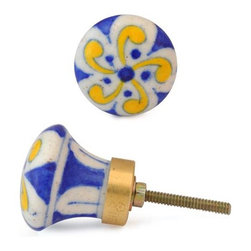"""Knobco - Floral Design Knob, Yellow Flower And Blue Dots With White - Yellow Flower and Blue dots with White base knob 03 from Jaipur, India. Unique, hand painted cabinet knobs for your kitchen      cabinets. 1.5"""" in diameter. Includes screws for installation."""