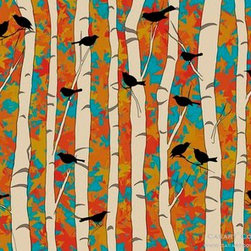 Casart coverings - Removable & Reusable Birds & Birch - Bold - Birds and Birch  - Casart custom, designer, removable wallcovering - comes in 10 styles (neutral and bold) and can be customized to personal color choices. Convenient, removable and reusable - slipcovers for your walls.
