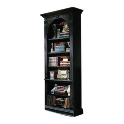 """Hooker Furniture - Seven Seas Black Bookcase - White glove, in-home delivery included!  Crafted from hardwood solids and veneers.  This handpainted black finish with gold accents bookcase features four adjustable shelves and one stationary shelf.  Total top section height: 53""""  Total bottom section height: 20 7/8"""""""