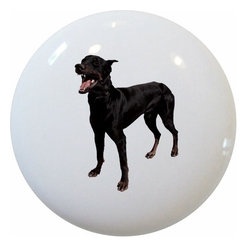 Carolina Hardware and Decor, LLC - Doberman Dog Ceramic Knob - New 1 1/2 inch ceramic cabinet, drawer, or furniture knob with mounting hardware included. Also works great in a bathroom or on bi-fold closet doors (may require longer screws). Item can be wiped clean with a soft damp cloth. Great addition and nice finishing touch to any room!