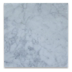 Carrara White 12x12 Honed Tile - Like the cool look and feel of an Italian palazzo, these time honored Italian carrara white marble tiles will make a splash in any interior or exterior project. Pool, shower, terrace, kitchen backsplash or countertop, you can find plenty of buonissimo uses for these formidable tiles.