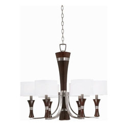 Triarch International - The Brady Chandelier in Brushed Steel Finish - The Brady Collection Single Tier Chandelier in a Brushed Steel finish with White Drum Shades. 6-60 Watt Candle Base bulbs not included. UL Approved. 28 in. W x 26 in. H (19 lbs)