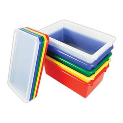 Ecr4kids - Ecr4Kids Plastic Stack and Store Tubs With Lids, Assorted, 12 Pieces - Our tote bins fit most standard cubby units that are 14 deep or more. Heavy-duty plastic that withstands play and the test of time. Rounded edges for safety. Includes matching color lid.Material Polypropylene plastic,