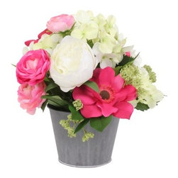 Floral Table Arrangement, Pink/White - Cute potted flowers for the nightstands are romantic and add some color without overdoing it.