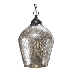 Kathy Kuo Home - Colani Industrial Loft Mercury Glass Wire Cage Pendant - This is a reason to come home at night. Just hang this mercury glass pendant in your foyer and you'll be transported to outer space. It looks almost as good off as it does on. Almost.