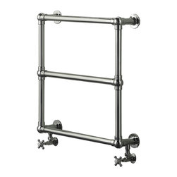 "Hudson Reed - Empress Hydronic Heated Towel Warmer & Valves 25.98"" x 25.98"" in Chrome Finish - Frame manufactured from quality brass tubing for a true period look. Ideal for use in the bathroom kitchen cloakrooms etc. Supplied with valves as standard."