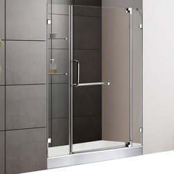 Vigo - 48in.  Frameless Shower Door 3/8in.  Clear Glass Chrome Hardware with White Base - Experience fine quality combined with superior design in a VIGO frameless shower door with matching 48in.  x 32in.  shower base.