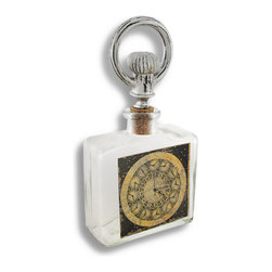 Zeckos - Decorative Steampunk Glass Bottle and Stopper - This cool steampunk inspired glass bottle is reminiscent of an old apothecary style bottle and would look great displayed on a shelf, bookcase or table and would add an industrial element to your home or office with its unique multiple clock design on the front. It has a resin handle attached to a cork stopper that only adds to the unique styling of this ultra-cool bottle. Fill it with colored liquid, perfume, sand or even nuts and bolts This is a perfect sized bottle to place on a nightstand or dresser, or to store your bubble bath in a bathroom. It measures 7 1/2 inches high with the stopper(4 3/8 inches without the stopper), 4 inches wide and 2 inches deep. This would make a fantastic gift for a steampunk enthusiast, too.